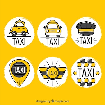 Funny hand drawn logos for taxi companies