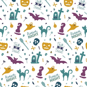Funny hand drawn seamless pattern for halloween.