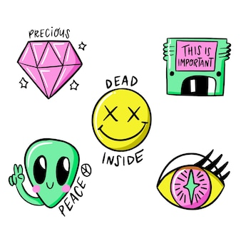 Funny hand-drawn sticker collection with acid colors