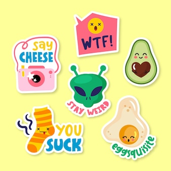 Funny hand-drawn sticker collection