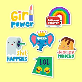 Funny hand-drawn sticker set