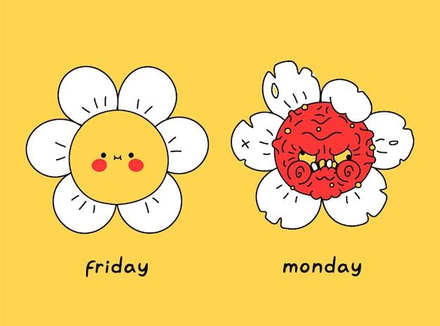 Забавный счастливый и злой безумный цветок. пятница против понедельника. векторный дизайн иллюстрации персонажа из мультфильма каракули. цветок, любовная пятница, ненависть понедельника, принт для плаката, концепция футболки