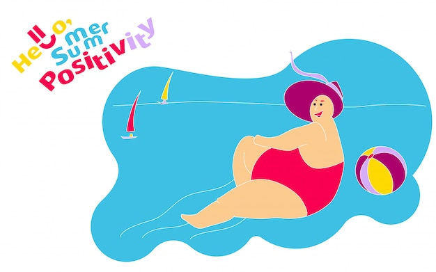 Funny happy fat girl on the summer beach