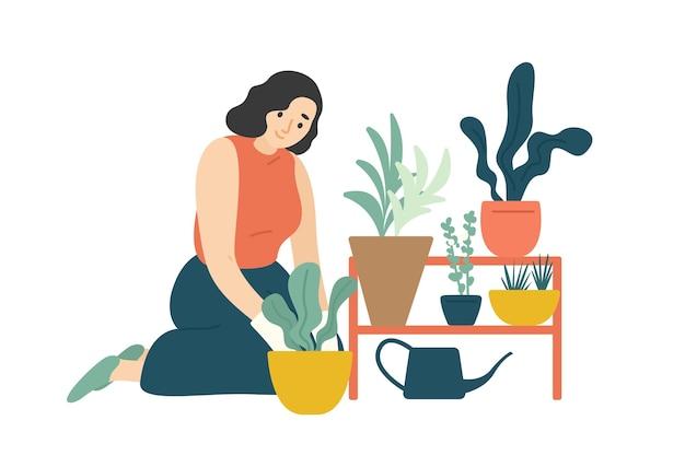 Смешная счастливая девушка заботится о комнатных растениях, растущих в плантаторах. молодая милая женщина выращивания горшечных растений дома. женский персонаж наслаждается своим хобби