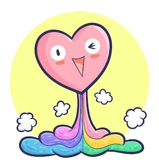 Смешное счастливое сердце поднимается с разноцветной жидкостью в стиле каракули каваи