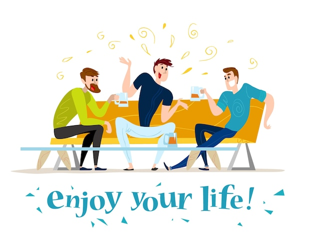 . . funny happy men at cafe table, sofa. guy company sitting in restaurant. evening party. waiter, cheerful boys characters.