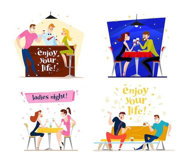 . . смешные счастливые люди в кафе, барном столе. мальчик и девочка в любви, сидя в ресторане на свидании. вечерняя вечеринка. официант, веселые мужские персонажи.