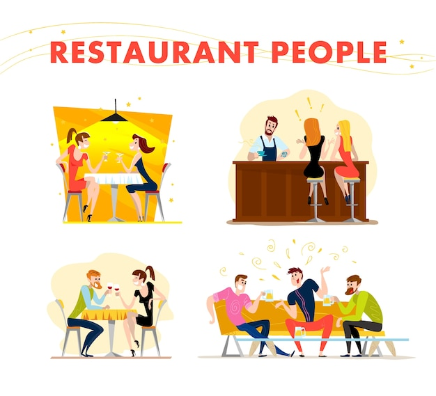 . . funny happy people at cafe, bar table. boy and girl in love sitting in restaurant on a date. evening party. waiter, cheerful men characters.
