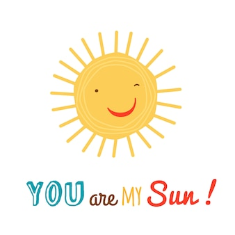 Funny happy sun character background