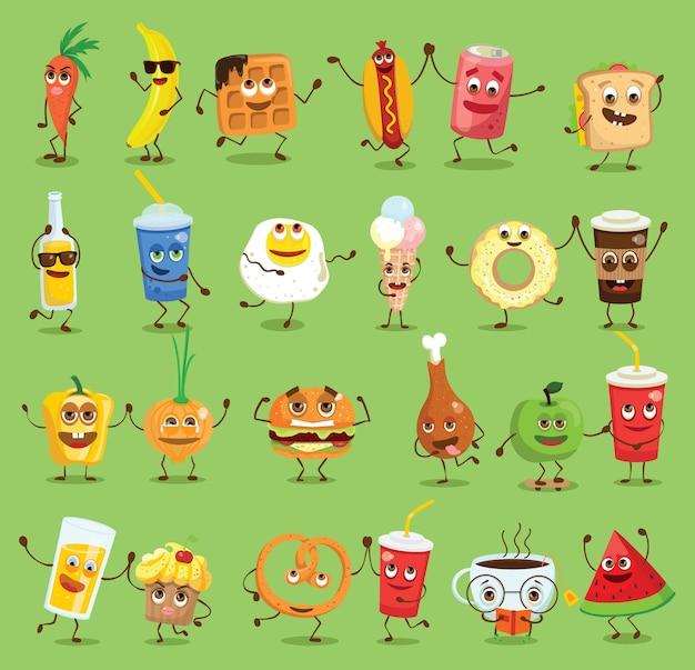 Смешные персонажи здорового и быстрого питания с эмоциями, иллюстрациями