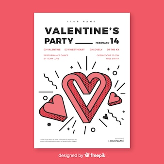 Funny heart valentine party poster