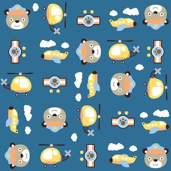 Funny helicopter pilot head on pattern vector