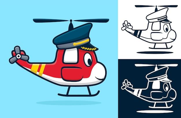 パイロットの帽子をかぶった面白いヘリコプター。フラットアイコンスタイルの漫画イラスト