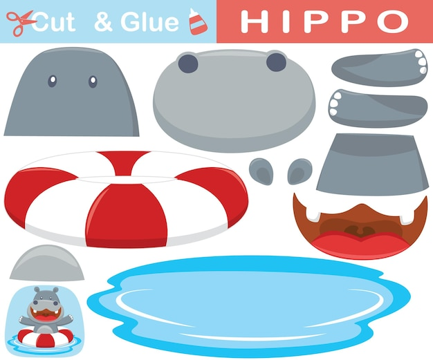Funny hippo swimming use lifebuoy. education paper game for children. cutout and gluing.   cartoon illustration