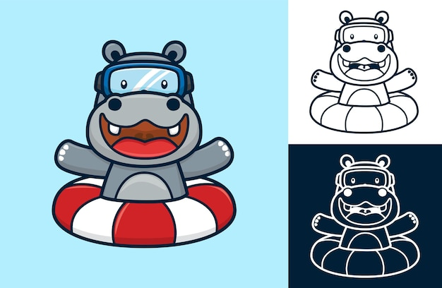 Funny hippo wearing diving goggles on lifebuoy.   cartoon illustration in flat icon style
