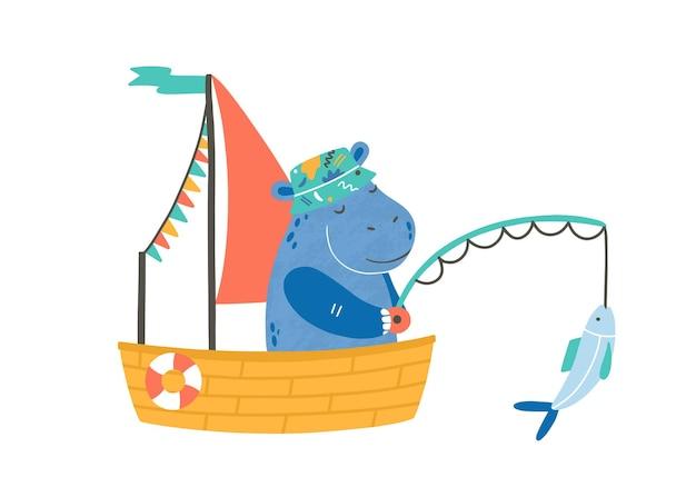 보트 평면 벡터 일러스트 레이 션에 재미 있는 하마입니다. 귀여운 어부 만화 캐릭터입니다. 흰색 절연 작은 배에 하마입니다. 수송기가 있는 사랑스러운 동물. 낚시 취미, 야외 여가 활동.