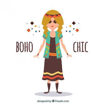 Funny hippy girl with boho clothes