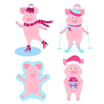 Забавный кабанчик на коньках. милый поросенок на лыжах. поросята на зимних каникулах. свинья в шляпе санты с подарочной коробкой. кабан делает снежного ангела лежа на снегу.