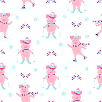 Funny hog on skates. cute piggy skiing. piglets on winter vacation. cartoon pigs outdoors. seamless pattern for the new year and christmas