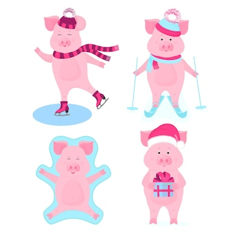 Funny hog on skates. cute piggy skiing. piglets on winter vacation. pig in santa's hat with gift box. boar making snow angel while lying on snow.