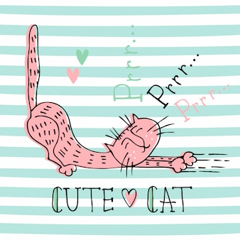 Funny home cat in a cute doodle style. cat's purring. lettering