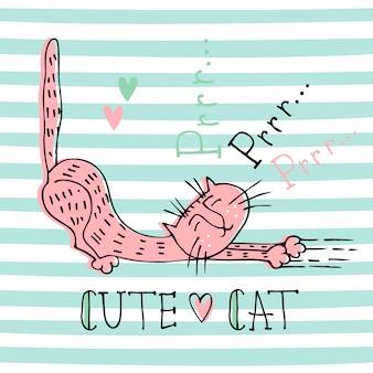 Смешная домашняя кошка в милом стиле doodle. кошачье мурлыканье. буквенное обозначение