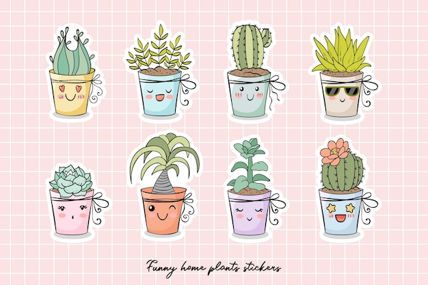 Funny home plants cartoon characters stickers collection