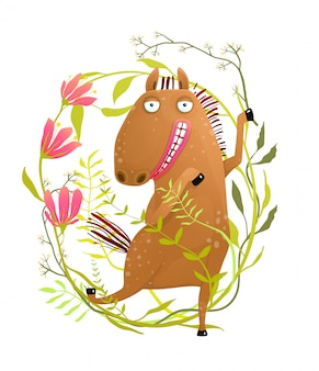 Funny horse in flowers cartoon