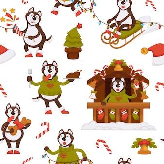 겨울 휴가 원활한 패턴을 축하하는 재미있는 허스키 캐릭터. 노점에서 기념품을 판매하는 개 썰매. 냄비에 싸구려로 장식 된 소나무. 사탕과 크래커. 평면 스타일의 벡터
