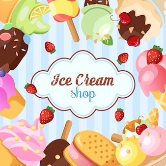 Funny ice cream background.