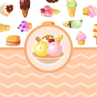 Funny ice cream background.