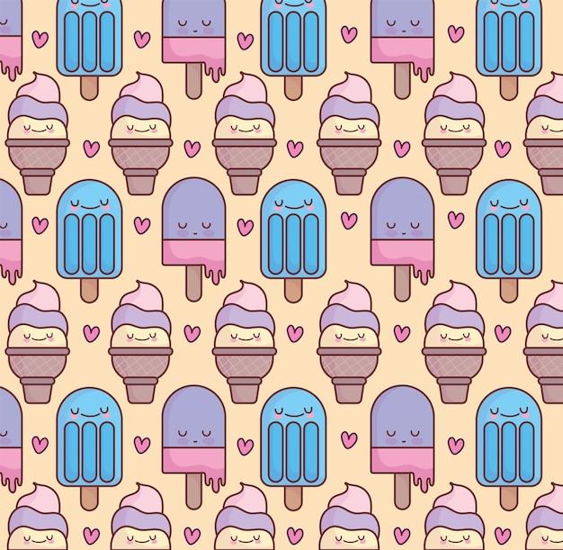 Funny ice cream cartoon pattern