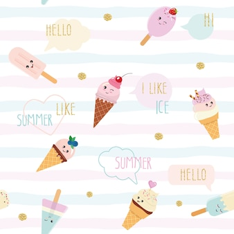 Funny ice-cream seamless pattern background.