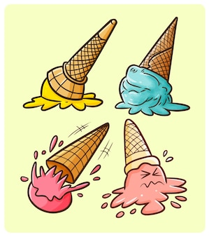 面白いアイスクリームは、シンプルな落書きスタイルで地面のコレクションに落ちる
