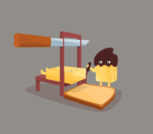 Funny illustration about execution of butter and sandwich, illustration