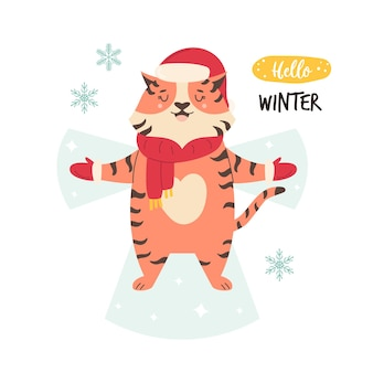 Funny illustration of cute tiger in winter clothes making snow angel. vector image in a modern flat style. winter holiday concept.