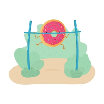 Funny illustration of a donut engaged in workout