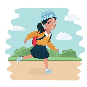 학교로 돌아가는 소녀의 재미있는 그림
