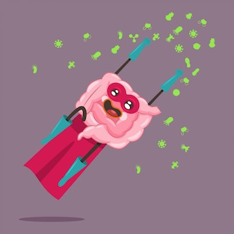 슈퍼 히어로 의상 벡터 만화 캐릭터 배경에 고립 된 재미있는 소장.