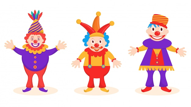 Funny jester character set in different poses.