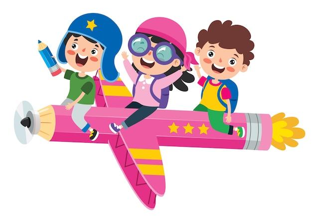 カラフルな鉛筆で飛んでいる面白い子供