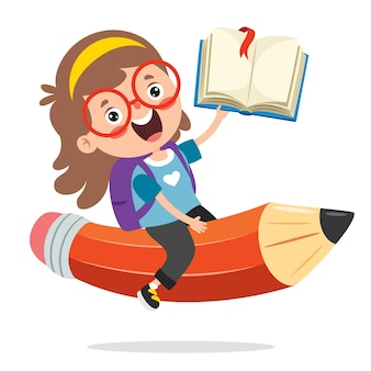 재미있는 아이 다채로운 연필에 비행