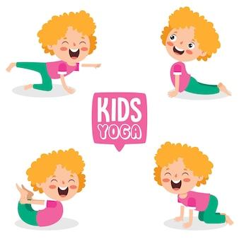 Забавный ребенок в позе йоги