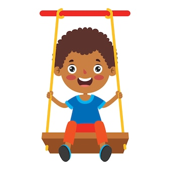 Funny kid playing in a swing