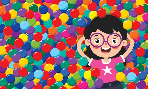 Funny kid playing with colorful balls