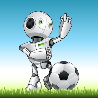 Funny kid robot play soccer