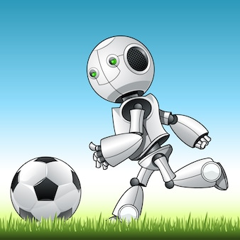 Funny kid robot playng with ball