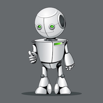 Funny kid robot showing ok.