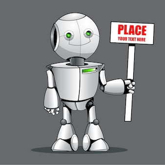 Funny kid robot showing place your text here