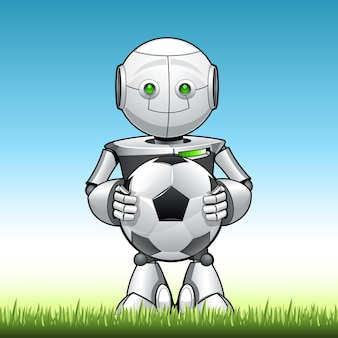 Funny kid robot with soccer ball in his hend